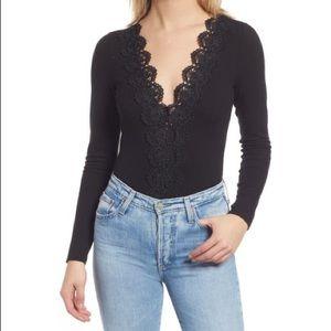 Lulu's Black Crochet Lace Bodysuit Medium B895E